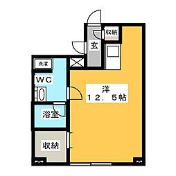 デライトコートVI 2階ワンルームの間取り