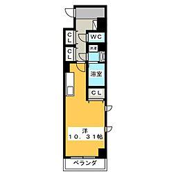 (仮称)元今泉マンション 7階1Kの間取り