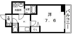 Osaka Metro谷町線 四天王寺前夕陽ヶ丘駅 徒歩7分の賃貸マンション 9階1Kの間取り