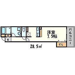 兵庫県尼崎市西難波町1丁目の賃貸アパートの間取り