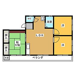 那加南栄町アパート[3階]の間取り