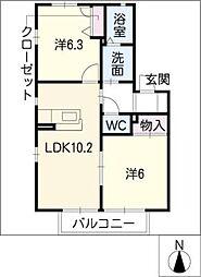 カーサ・キタシロ[2階]の間取り