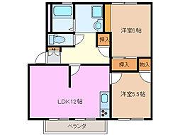 三重県鈴鹿市中江島町の賃貸アパートの間取り