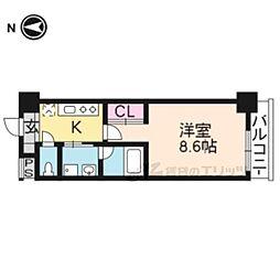 京都地下鉄東西線 山科駅 徒歩11分の賃貸マンション 4階1Kの間取り