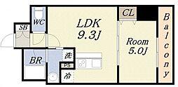サンガーデン 4階1LDKの間取り