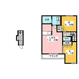 ルミナスハイツ市川II[2階]の間取り