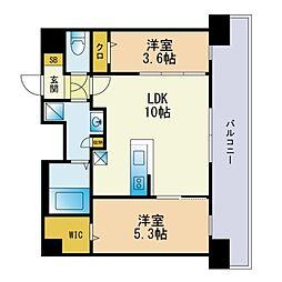 Modern Palazzo 天神AXIA 10階2LDKの間取り
