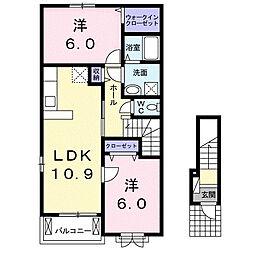 神奈川県高座郡寒川町一之宮4丁目の賃貸アパートの間取り