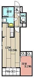 リアンレガーロ東比恵ステーション[204号室]の間取り