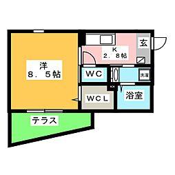COMPLET KATSU 1階1Kの間取り