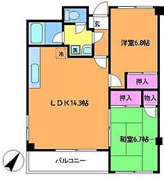 東京都調布市小島町3丁目の賃貸マンションの間取り