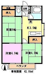 埼玉県さいたま市南区文蔵5丁目の賃貸アパートの間取り