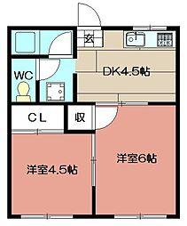宝珠荘[202号室]の間取り