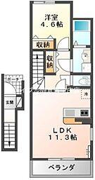岡山県倉敷市菰池3丁目の賃貸アパートの間取り