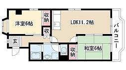 愛知県名古屋市天白区中平2丁目の賃貸アパートの間取り