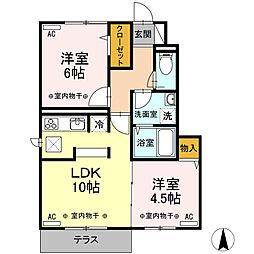 東京都府中市本宿町3丁目の賃貸アパートの間取り