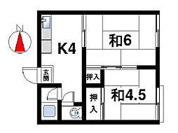 奈良県奈良市西笹鉾町の賃貸アパートの間取り
