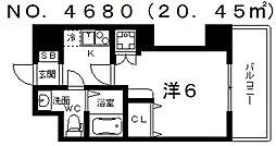 ブリリアントコート西田辺[6階]の間取り