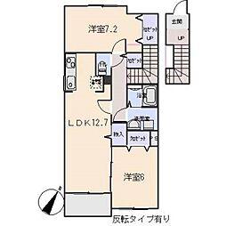 愛知県岡崎市上地3丁目の賃貸アパートの間取り