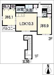 愛知県あま市篠田北長無の賃貸アパートの間取り