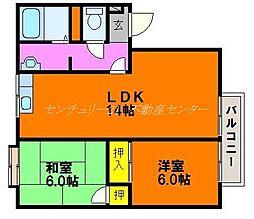 岡山県岡山市東区西大寺松崎の賃貸アパートの間取り