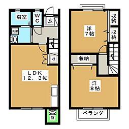 [テラスハウス] 静岡県富士宮市山本 の賃貸【静岡県 / 富士宮市】の間取り
