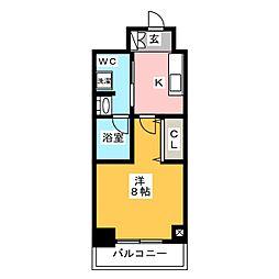 ステージグランデ上野 10階1Kの間取り