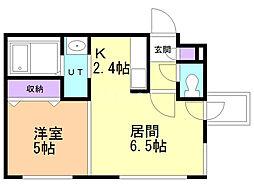 SUPERIAGE N19 WEST 5階1DKの間取り