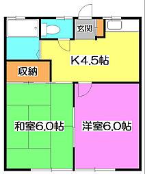 東京都清瀬市下清戸1の賃貸アパートの間取り