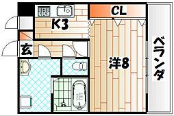 パークコート三萩野[201号室]の間取り