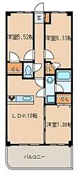 千葉県柏市新富町1丁目の賃貸マンションの間取り