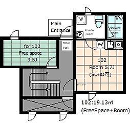 asakusa COMPLEX 1階ワンルームの間取り