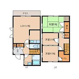 [テラスハウス] 奈良県奈良市朱雀6丁目 の賃貸【/】の間取り