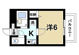 ラポール田井庄B 2階1Kの間取り