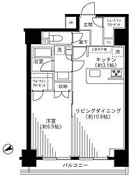都営浅草線 東銀座駅 徒歩7分の賃貸マンション 11階1LDKの間取り