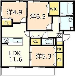 仮称)D−room目川ハイツB棟[201号室]の間取り
