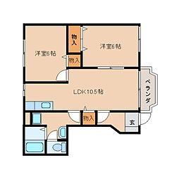 近鉄天理線 二階堂駅 徒歩8分の賃貸アパート 1階2LDKの間取り