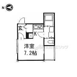 京阪本線 藤森駅 徒歩10分の賃貸アパート 2階ワンルームの間取り