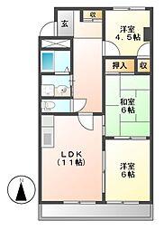 サンライズ喜多山[3階]の間取り