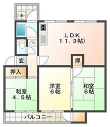 狩口台住宅28号棟[3階]の間取り