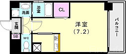 神戸市西神・山手線 新長田駅 徒歩3分の賃貸マンション 7階ワンルームの間取り