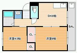 西島コーポラス[2階]の間取り