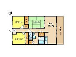 JR姫新線 余部駅 徒歩5分の賃貸マンション 2階3LDKの間取り