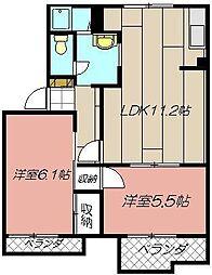 タウニィTANAKA A棟[102号室]の間取り