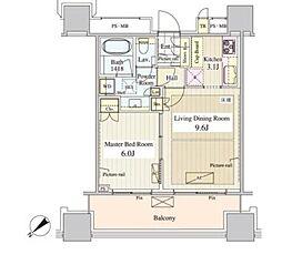 JR中央線 飯田橋駅 徒歩3分の賃貸マンション 8階1LDKの間取り