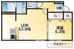 クレール・アゾン3 2階1LDKの間取り