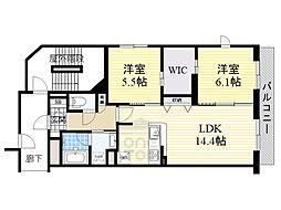 Osaka Metro今里筋線 新森古市駅 徒歩3分の賃貸マンション 5階2LDKの間取り