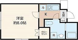 JR京浜東北・根岸線 川崎駅 徒歩7分の賃貸マンション 4階1Kの間取り