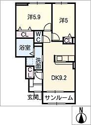 ミモザ[1階]の間取り