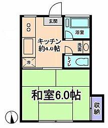 東京都国立市西1の賃貸アパートの間取り